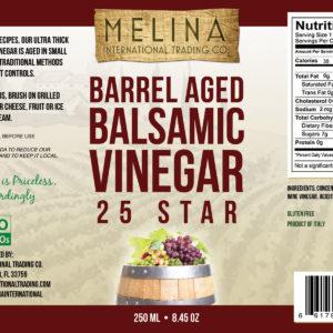 Melina 25 Star Barrel Aged Balsamic Vinegar label