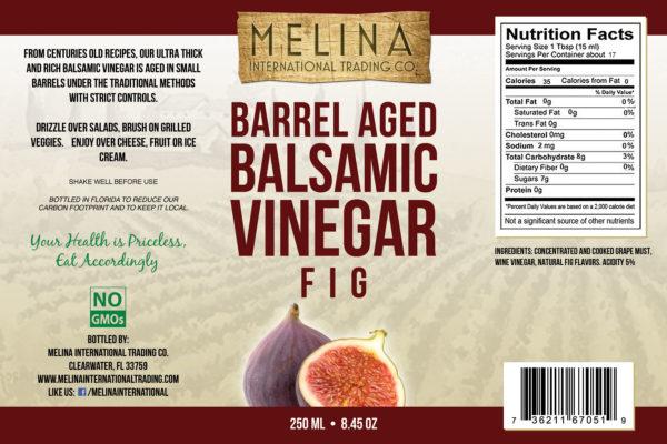 Melina Fig Barrel Aged Balsamic Vinegar label