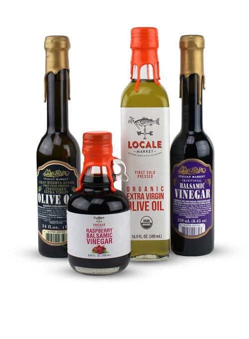 Selection of olive oil and vinegar bottles