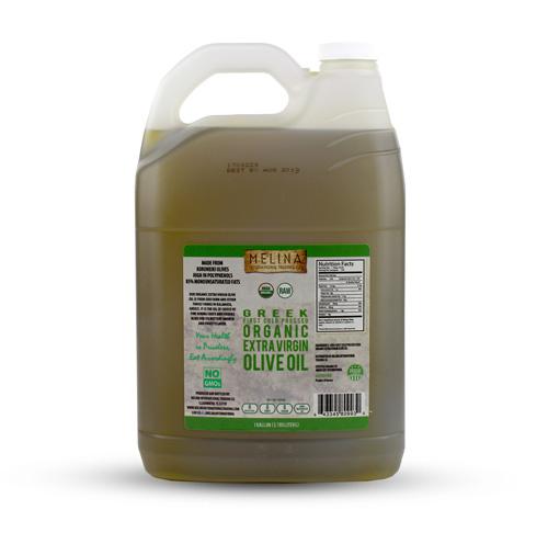 1 gallon plastic jug of Melina olive oil