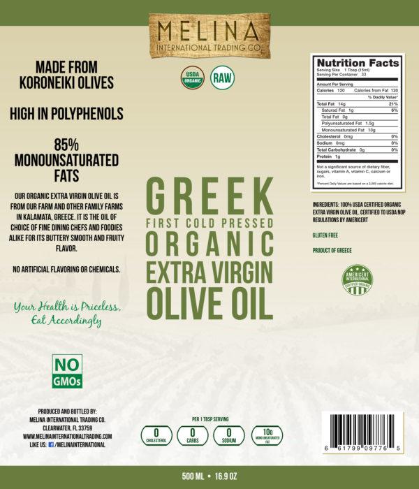 Melina Organic Extra Virgin Olive Oil label