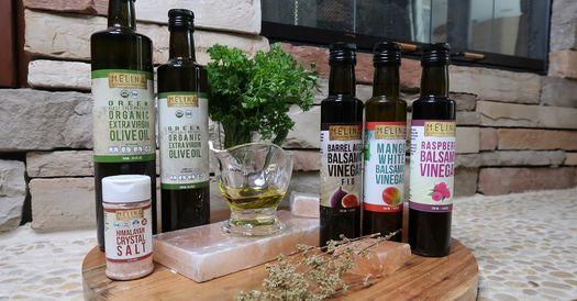 Assortment of Melina International Trading Olive Oils and Balsamic Vinegars